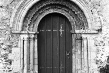 Hales St Margaret's church Norman S door (2) 09.03.1940